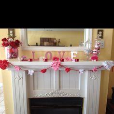 Valentines Day mantel...thanks pintrest!!!