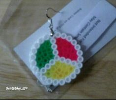 """One of a kind earring. Made of perler bead material w/hypoallergenic ear hoop. Approx 1"""" in diameter - .002oz. in weight. 