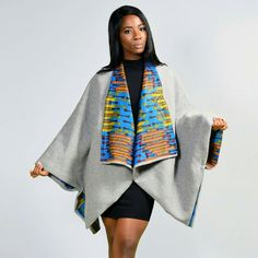 Stay stylish in the Scandal Cape – Grey by Diarrablu African Inspired Fashion, African Print Fashion, Africa Fashion, Fashion Prints, African Attire, African Wear, African Women, Xhosa Attire, African Style