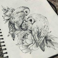 e 交 tatouage oiseau oiseau hibou chouette hibou couple floral - art . Owl Tattoo Drawings, Bird Drawings, Tattoo Sketches, Animal Drawings, Drawing Sketches, Tattoo Owl, People Drawings, Pencil Drawings, Easy Drawings