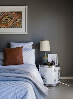 Nightstand Styling Formula - There's nothing more embarrassing than a barren bedside table. Unless you don't even own a bedside table. Bedroom Furniture, Bedroom Decor, Furniture Design, Budget Bedroom, Apartment Furniture, Bedroom Ideas, Drum Side Table, Diy Nightstand, Bedside Tables