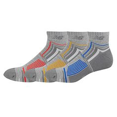 New Balance Mens Performance Ankle Socks 3 Pack GreyBlueYellowRed Size 9125 ** Click on the image for additional details.Note:It is affiliate link to Amazon.