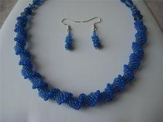 Blue Dutch Spiral Beadwork Necklace & Earring Set by beadbay