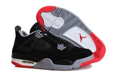 7a8b9371f29 Air Jordan 4 Black Cement Grey Red Super Perfect