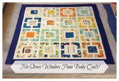 No-Stress Window Pane Baby Quilt! Create Along - www.notmygrandmasquilts.com