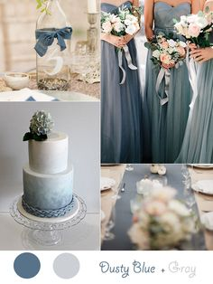 Slate Blue (or Dusty Blue) with Light Sage Green Blush and ...