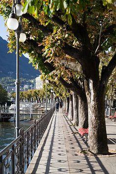 Lakeside of Lugano in autumn