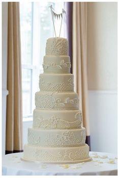 Beautiful, Simple & Elegant Ivory Wedding Cake 7 Tier Ivory Wedding Cake, Wedding Cakes, Wedding Favours, Wedding Reception, Chocolate Stout, Fondant Icing, Marzipan, Let Them Eat Cake, Favors