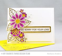 Handmade card from Barbara Anders featuring Doodled Blooms Card Kit PDF #mftstamps