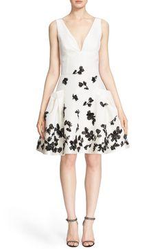 Carolina Herrera Floral Appliqué Fit & Flare Silk Dress available at #Nordstrom