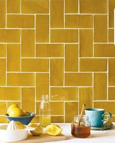Kitchen backsplash ideas that will brighten and modernize your kitchen. with cabinets, diy for big and small kitchen - white or dark cabinets, yellow tile patterns Kitchen Wall Tiles, Wall And Floor Tiles, Kitchen Backsplash, Backsplash Ideas, Metro Tiles Kitchen, White Wall Tiles, Backsplash Design, Kitchen Paint, Tile Design