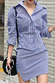 This shirt dress is suitable for office or weekend look, featuring stripe with buttons and long sleeve. t shirt dress fall,fall shirt dress,buttoned shirt dress,long shirt dress Rock Dress, The Dress, Dress Skirt, Blouse Dress, Black Dress Outfits, Pretty Outfits, Pretty Dresses, Casual Dresses, Summer Dresses