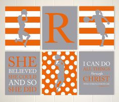 Inspirational quote art, basketball girl, basketball wall art, basketball player, girls quotes wall art, sports art for girls, set of 6 by PicabooArtStudio
