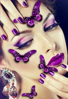 Pink and purple color wonderfuĺ together makeup and very interesting with different butterfy glamor woman 👄💄👑 What do you think about this makeup and clothes? Can you do this makeup by yourself and do you wearing interesting clothes? Purple Love, All Things Purple, Shades Of Purple, Purple Hues, Pink, Red Eyeliner, Foto Poster, Butterfly Kisses, Butterflies