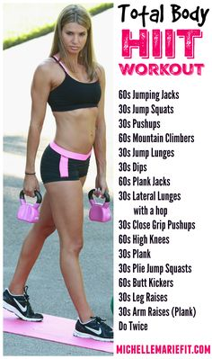 HIIT Workout that can be done at home with no equipment and works the entire body and a lot of core and abs. More workouts and a great diet to follow for weight loss here.