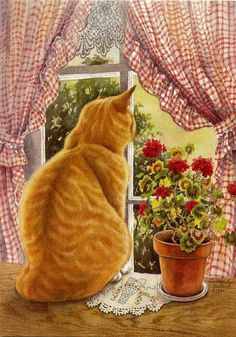 Looks like our kitchen window, gingham, geraniums and kittie too! Lovely....Artist-Susan Bourdet
