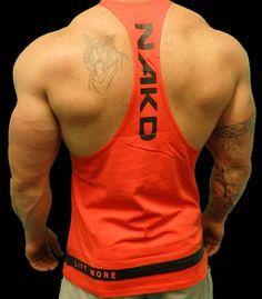 NAKD Red Full T BACK, RACERBACK, Y BACK, BODYBUILDING, MENS GYM SINGLET #NAKD