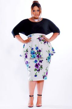 JIBRI Plus Size High Waist Pencil Skirt w/Peplum by jibrionline, $140.00