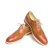 brown leather and suede oxford brogue shoes for men via Etsy.