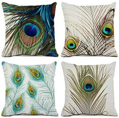 Pea Feather Decorative Throw Pillow Case Cotton Linen Square Cushion Covers Pillowcases For Sofa Couch