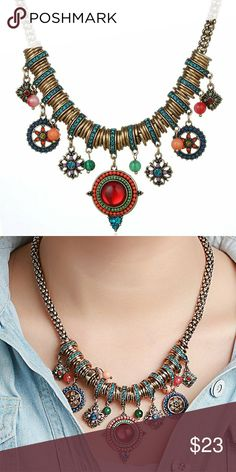 Boho Red Colorful Pendants w/ Crystal/ Rhinestones Bohemian Multicolor & Red Pendants with Enamel & Rhinestone Cultural Necklace  This jewelry is intricately made according to the European American style with the latest designs in the world of trending fashion jewelry. This eccentric design will make you look unique while evoking a youthful, free spirited, bohemian, classic, trendy, eclectic, & edgy spirit.  Features  Metals Type:Alloy  Material:Gold Plated,Resin,Rhinestone  Weight: 3 oz…