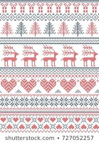 Scandinavian, Nordic style winter stitching Christmas pattern including snowflakes, hearts, Christmas present, snow, star, Christmas tree, reindeer and decorative ornaments in red, white. blue Cross Stitch Embroidery, Cross Stitch Patterns, Knitting Patterns, Nordic Style, Scandinavian Style, Christmas Cross, Christmas Tree, Christmas Ideas, Shabby