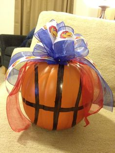 My KU Jayhawks basketball pumpkin for fall!