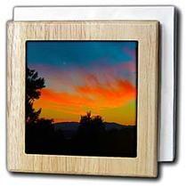 3dRose - Jos Fauxtographee Sunset - The sun going down in Washington, Utah with Trees  - Tile Napkin Holders