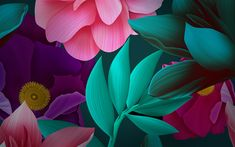 Download wallpapers colorful flowers, 3d art, creative, huawei, flowers