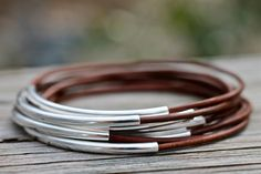 Rustic Brown Leather Bangle Bracelets Set of 10