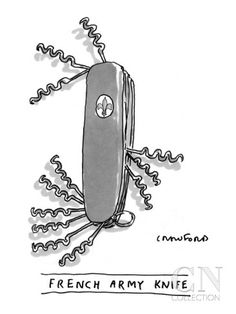 Knife has only corkscrews. - New Yorker Cartoon Poster Print by Michael Crawford at the Condé Nast Collection