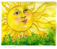 Watercolor painting of a happy sun. Sun Moon Stars, Sun And Stars, Watercolor Paintings, Original Paintings, Watercolors, Good Morning Sunshine, Sunday Morning, Sun Painting, Happy Sun