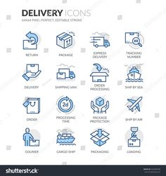Buy Line Delivery Icons by davooda on GraphicRiver. Simple Set of Delivery Related Color Vector Line Icons. Contains such Icons as Loading, Express Delivery, Tracking Nu. Box Icon, Icon Set, Real Estate Icons, Communication Icon, Time Icon, Folder Icon, Education Icon, Tattoo, Hair Beauty