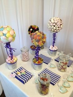 Sweet Buffet Table, consisting of jars and individually handmade sweetie trees, ! Sweet Buffet, Sweet Bar, Love Is Sweet, Sweet Trees, Wedding Sweets, Wedding Inspiration, Wedding Ideas, May Weddings, Buffets