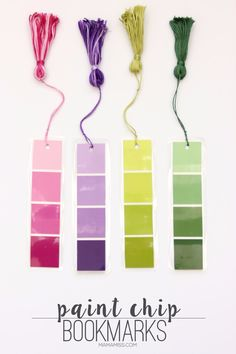 DIY Projects Made With Paint Chips - DIY Paint Chip Bookmarks - Best Creative Crafts, Easy DYI Projects You Can Make With Paint Chips - Cool Paint Chip Crafts and Project Tutorials - Crafty DIY Home Decor Ideas That Make Awesome DIY Gifts and Christmas Presents for Friends and Family http://diyjoy.com/diy-projects-paint-chips