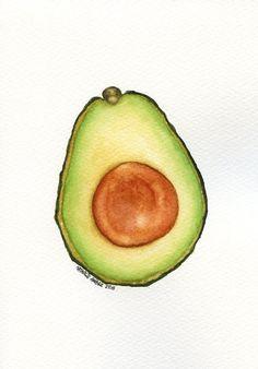 Avocado Half #3 - ORIGINAL Painting (Watercolour Wall Art, Small Still Life) 5x7