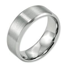 Jewelry & Watches Titanium Black Rubber Ridged Edge 7mm Brushed Wedding Ring Band Size 8.50 Fancy