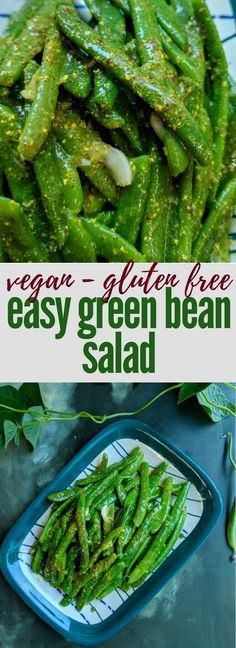 My favourite recipe for an easy green bean salad that needs just 5 ingredients and under 10 minutes. It is vegan and gluten free too! Healthy Salad Recipes, Veggie Recipes, Indian Food Recipes, Vegetarian Recipes, Healthy Foods, Vegetarian Diets, Raw Recipes, Vegan Food, Diet Recipes