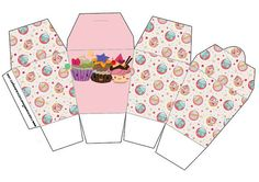 Cajitas Imprimibles para fiestas de pastelitos - cupcakes.