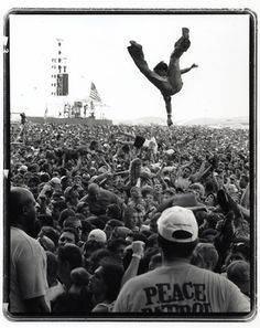 Woodstock 1969 maybe some crowd surfing