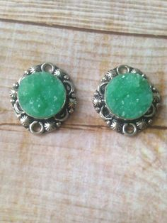 2 Green  Druzy Earring charms Druzy pendant 925 silver plated  Druzy Agate Jewelry supply