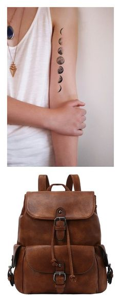 """""""The Outsiders"""" by chillythecat ❤ liked on Polyvore featuring accessories, body art, tattoos, bags, backpacks, backpack, brown, pu bag, brown drawstring bags and brown rucksack"""