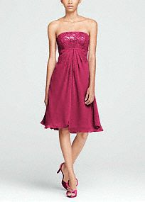 Your bridesmaids will pave your entrance as they dazzle down the aisle in this fashion forward stunner!  Strapless sequin bodice is eye catching and right on trend.  Empire waist creates a defined and stunning silhouette.  This short sensation is perfect for any wedding, the crinkle chiffon split front is fun and flirty.  Fully lined. Back zip. Imported. Dry clean only.  Sizes and colors are available in limited stores and with limited availability.