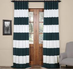 96 Inch Dusk Blue Off White Rugby Stripes Curtain Single Panel Blue Color Drapes Cabana Striped Pattern Window Treatments Nautical Sports Themed