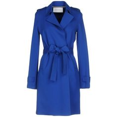 Harris Wharf London Overcoat (16.250 RUB) ❤ liked on Polyvore featuring outerwear, coats, blue, long sleeve jersey, cotton coat, blue coat, cotton jersey and double breasted overcoat