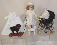 Darlene Lane All Bisque Mignonette Doll UFDC w Xtras! Marklin Carriage Dog Baby (06/23/2012)