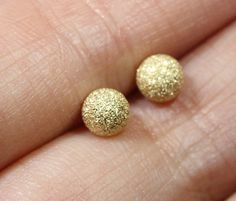 Shiny Stardust 14K Recycled Gold Ear Stud - Made To Order. $48.00, via Etsy.
