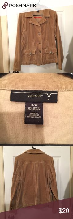 Corduroy Jacket Tan corduroy jacket. Super cute! Size 14/16 Venezia Jackets & Coats