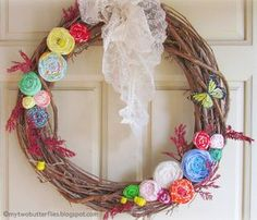Ribbon Rosette Spring Wreath from My Two Butterflies | Featured in Gooseberry Patch Fresh Picked Inspiration slideshow