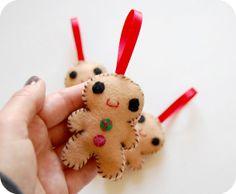 Ginger Bread Man Felt Christmas Ornament